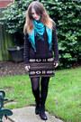 Black-topshop-boots-black-asos-dress-turquoise-blue-h-m-scarf