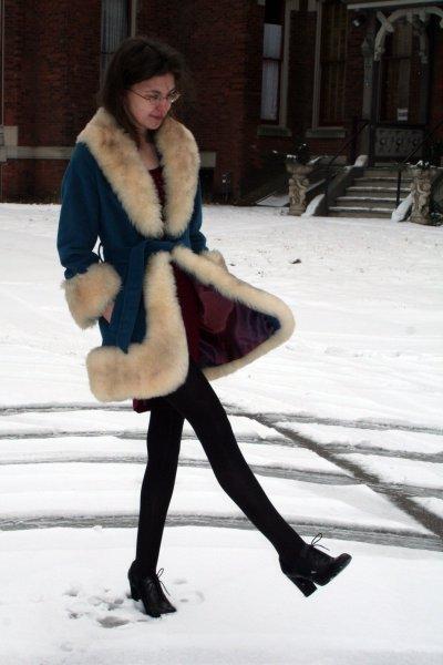 blue vintage coat - red City streets top - black MIA 2 shoes - black xhilaration