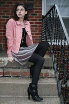 pink AMI jacket - black so top - white Express skirt - black Charlotte Russe boo