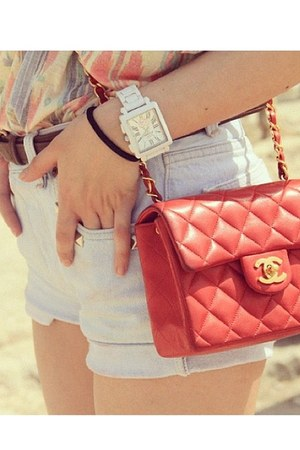 red channel bag - light blue shorts - white watch - dark brown belt