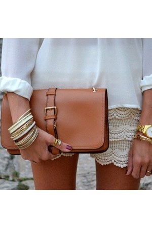dark gray bracelet - gold bracelet - white shirt - tawny bag - eggshell shorts