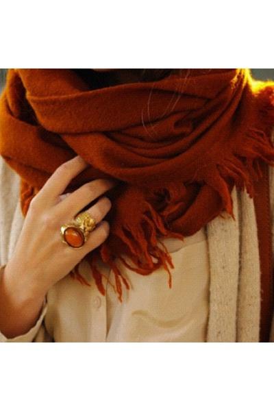 7413c2fe8ee0b brick red scarf - brown jacket - nude shirt - gold ring - burnt orange ring