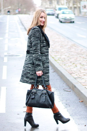 gray Kookai coat - black Tommy Hilfiger boots - black longchamp bag