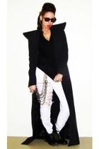 white Forever 21 jeans - black Target boots - black maison martin margiela coat