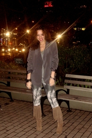 emporio armani blazer - Zara t-shirt - forever 21 leggings - Zara boots - Kennet