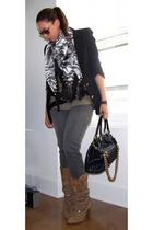 Zara blazer - adrienne vittadini scarf - Zara top - Kill City jeans - Marc Jacob