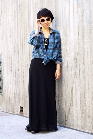 blue flannel shirt - peach coach sunglasses - black H&M skirt
