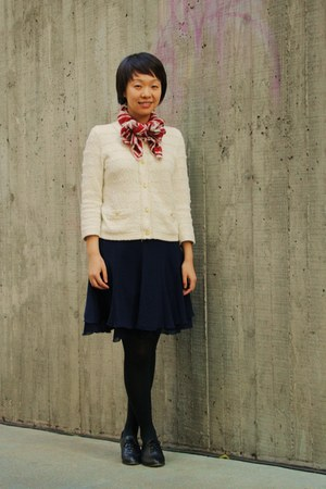 ruby red Zara scarf - navy Uniqlo skirt - cream Uniqlo cardigan