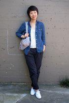 white Keds shoes - black Marc by Marc Jacobs necklace - blue Chic Swap purse - b