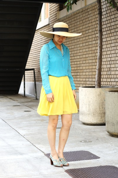 sky blue shirt - light blue Chie Mihara sandals - yellow skirt