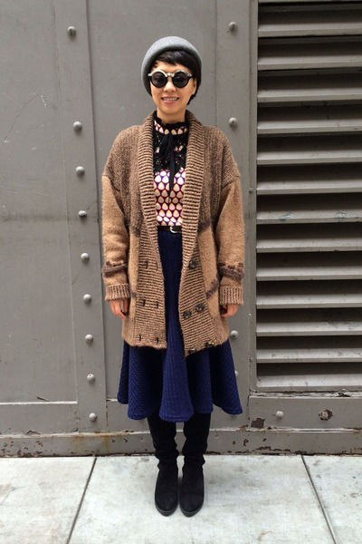 over the knee Choies shoes - black chictopia shop sunglasses - blue knit skirt
