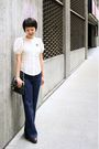 Blue-h-m-jeans-brown-born-shoes-white-anthropologie-top