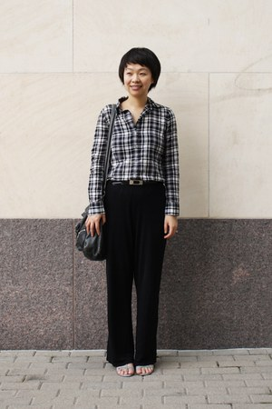 black plaid Theory shirt - black Anne Klein pants