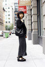 Dark-gray-maxi-royal-mint-dress-black-helmut-lang-blazer