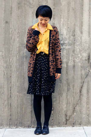 yellow ABS shirt - black polka dot H&M skirt