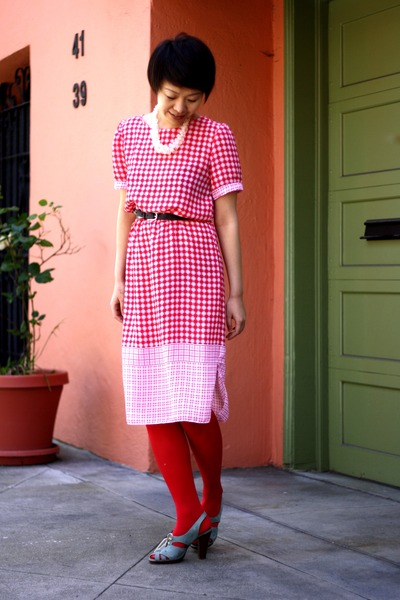 sky blue Chie Mihara shoes - red vintage dress - red HUE tights - off white chic