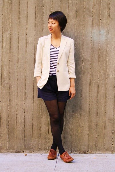 beige ann taylor blazer - blue martin and osa shorts - brown shoes