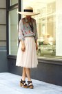 navy Lucky Brand shoes - yellow straw san diego hat hat - peach maxi skirt H&M s