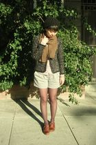 black Zara cardigan - purple shirt - silver shoes - brown miz mooz shoes
