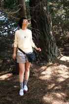 brown necklace - black akirachicago purse - white Keds shoes - beige American Ap
