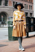 mustard faux leather chictopia shop skirt - orange floral chictopia shop top
