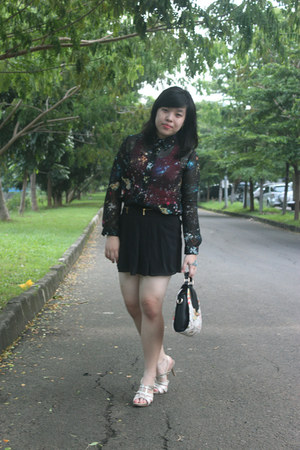 floral print PERSUNMALL bag - galaxy sheer romwe shirt - romwe skirt
