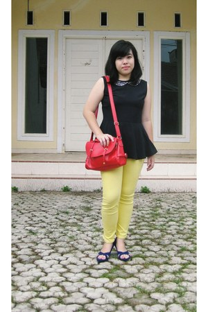 red sammydress bag - yellow Tex Woman jeans - black peplum Zalora top