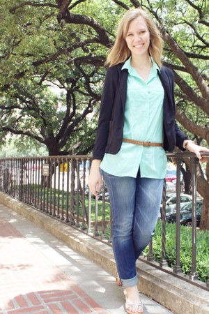black JC Pennys blazer - blue Gap jeans - aquamarine cotton on blouse