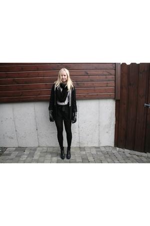 black Zara blazer - black GINA TRICOT shorts - black Din Sko shoes - black GINA