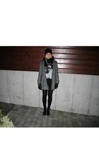 gray Bik Bok coat - black Bik Bok t-shirt - black H&M shoes - black GINA TRICOT