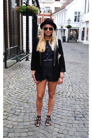 black Zara blazer - navy urban outfitters vintage romper
