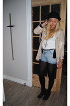 black gardenia boots - black Bik Bok hat - beige Zara jacket