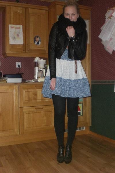 H&M jacket - Cubus dress - Bik Bok belt - lindex tights - go jane shoes