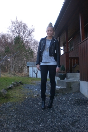 H&M jacket - Bik Bok jeans - Din Sko shoes - H&M sweater - GINA TRICOT necklace