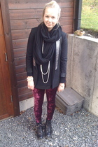 black Zara blazer - red Bik Bok leggings - black H&M shoes - black GINA TRICOT s