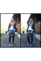 Gina T purse - H&M jacket - Converse shoes - Forever21 shorts - DIY top - Ray Ba