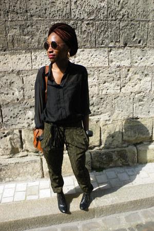 round shades H&M sunglasses - lace up oxfords heels - Bershka pants - H&M blouse