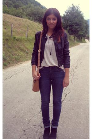 blue H&M pants - burnt orange vintage bag - cream New Yorker blouse