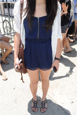 white BDG shirt - brown bag - black sandals - navy romper