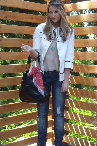 white f21 jacket - beige Lux shirt - blue Almost Famous jeans - black Prada purs