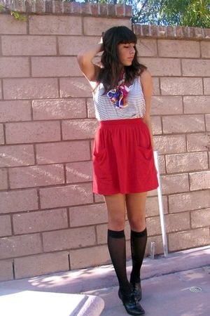 red American Apparel skirt - white American Apparel shirt - black payless shoes