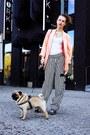 Black-h-m-pants-salmon-vintage-blazer-white-h-m-bodysuit