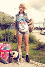 Blue-vintage-jacket-hot-pink-vintage-shirt-tan-backpack-zara-bag