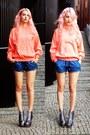 Salmon-vintage-hoodie-navy-bershka-shorts-silver-jeffrey-campbell-wedges