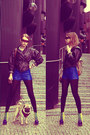 Black-vintage-jacket-blue-h-m-shorts