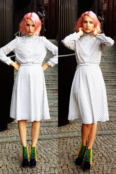 white vintage dress - navy Jeffrey Campbell wedges