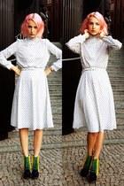 white vintage dress - navy Jeffrey Campbell wedges