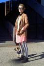 Salmon-kling-dress-white-striped-romwe-leggings-camel-h-m-blazer