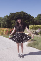 black Nasty Gal hat - black Nasty Gal top - black brandy melville skirt