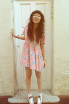 white TUK shoes - bubble gum sunglasses Lazy Oaf dress